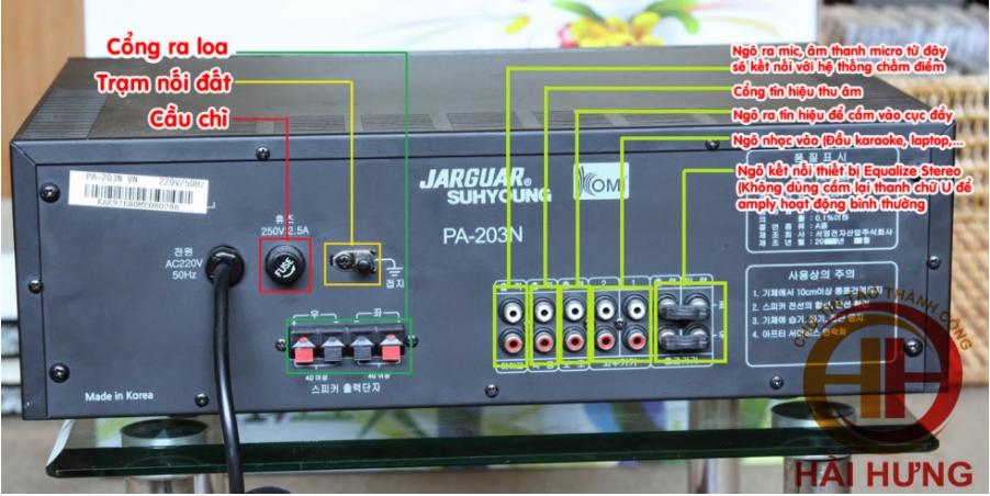 Bảng hướng dẫn sử dụng nút điều chỉnh của amply Jarguar 203N: